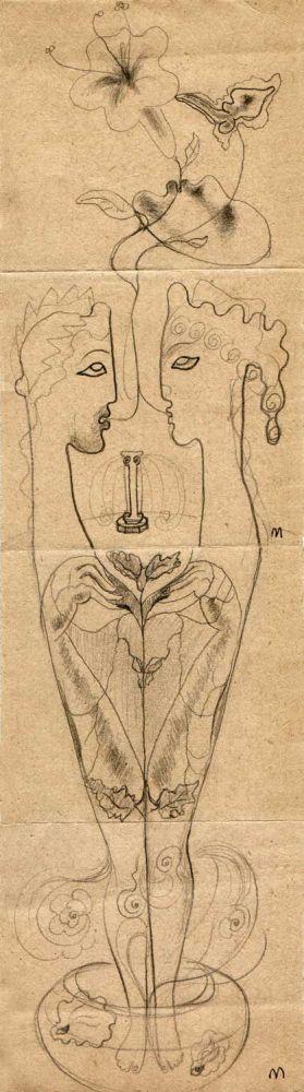 Hedda Sterne, Theodore Brauner, Medi Wechsler Dinu, Cadavre exquis no 68, 1930-1932, crayons on paper, 31,5x9cm
