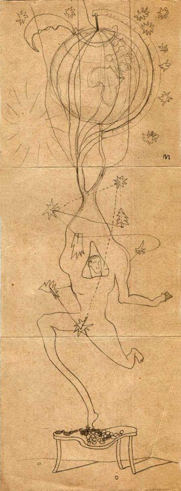 Hedda Sterne, Theodore Brauner, Medi Wechsler Dinu, Cadavre exquis no 84, 1930-1932, crayons on paper, 31,5x11cm