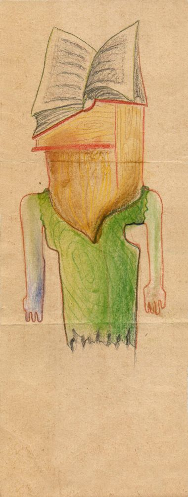 Hedda Sterne, Theodore Brauner, Medi Wechsler Dinu, The Abisal Anthem, Cadavre exquis no 9, 1930-1932, crayons on paper, 31,5x11,5cm