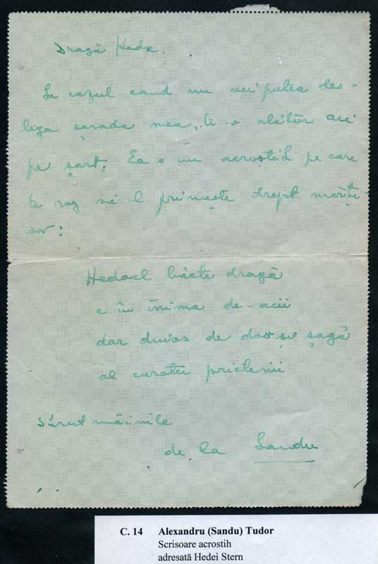 Acrostic letter addressed to Hedda by Alexandru (Sandu) Tudor