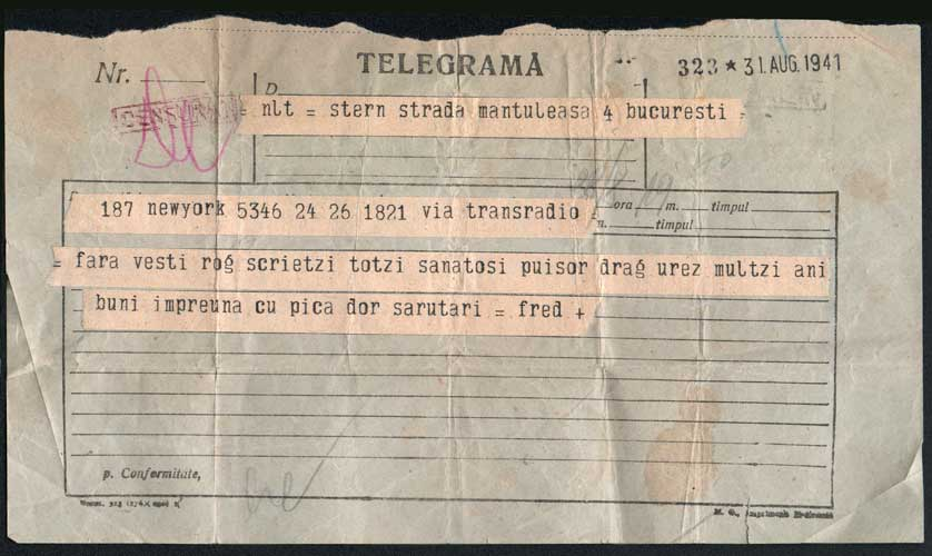 Telegram sent to Hedda Sterne in Bucharest from New York by Fritz Stern