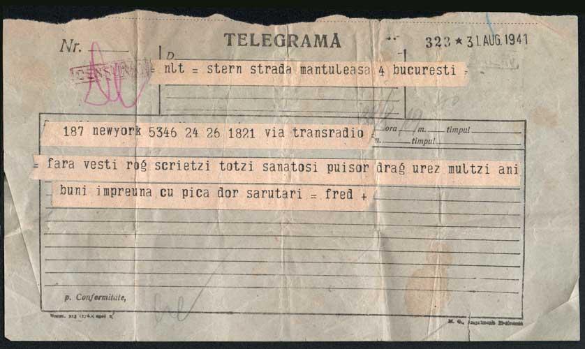 Telegram sent to Hedda Sterne in Bucharest from New York by Fritz Stern