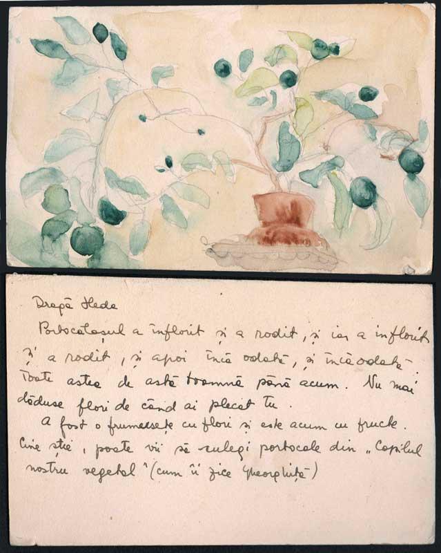 Watercolor card addressed to Hedda Sterne by Medi Wechsler