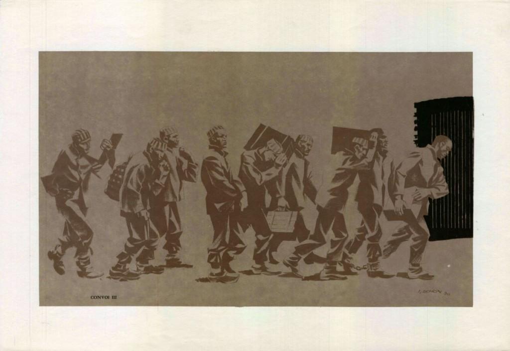 Ilie Schon, Convoy III, 1970, limited propaganda edition, 48x33 cm