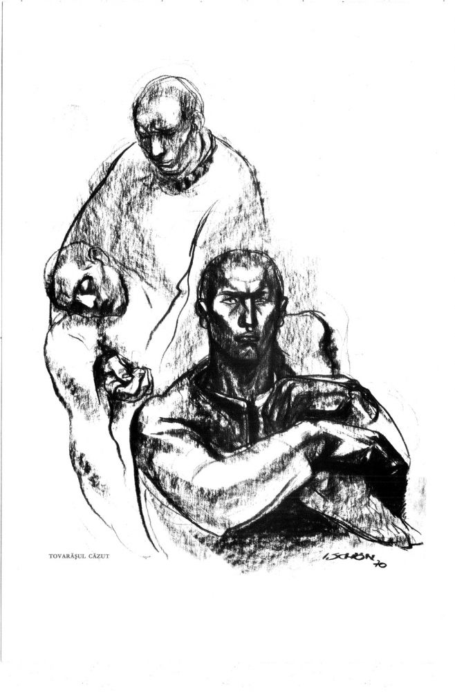 Ilie Schon, The Fallen Comrade, 1970, limited propaganda edition, 48x33 cm