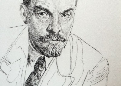 Daniel Brici, Study for Lenin 2016, drawing on paper 39,5x32 cm
