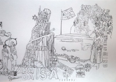 Daniel Brici, Tzara & Lenin Play Chess, 2016, drawing on paper, 30x45 cm