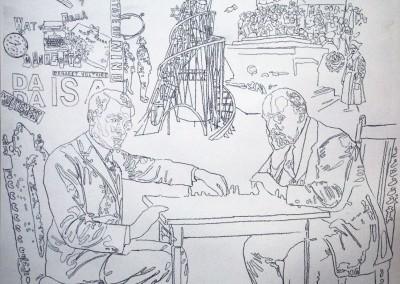 Daniel Brici, Tzara & Lenin Play Chess, 2016, drawing on paper, 50x50 cm