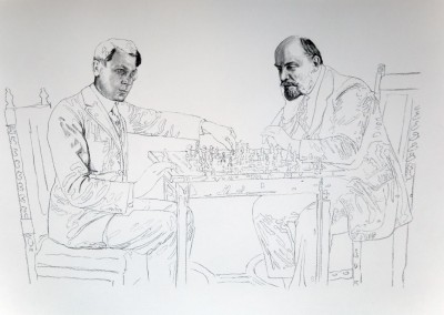 Daniel Brici, Tzara & Lenin Play Chess, 2016, drawing on paper, 50x70 cm