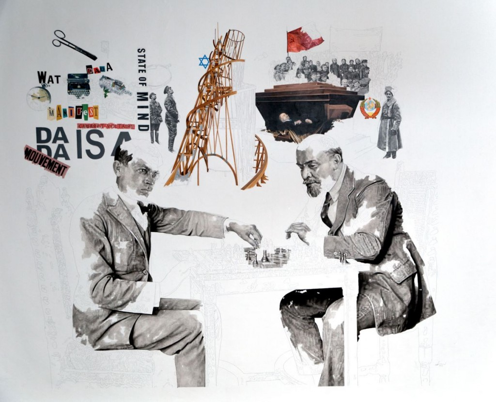 Daniel Brici, Tzara & Lenin Play Chess, 2016, oil and pencil on canvas, 190x160 cm
