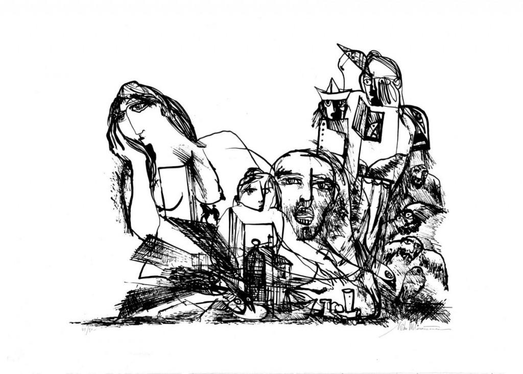 Mihu Vulcanescu, Icarus II, 1971, lithography, 21 from 50, 50x70 cm, prov Delia Desi Arte Contemporanea