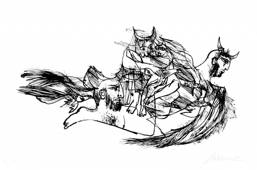 Mihu Vulcanescu, Icarus VI, 1971, lithography, 17 from 30, 38.5x63 cm, prov Delia Desi Arte Contemporanea