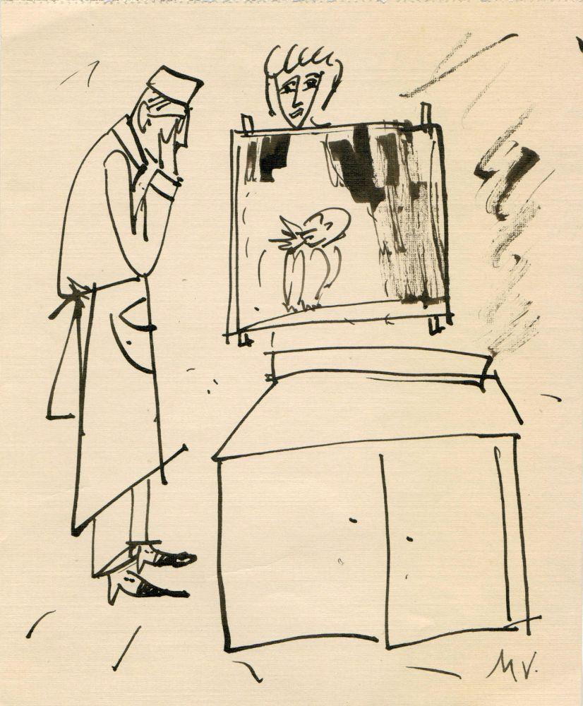 Mihu Vulcanescu, One Problem, cca. 1970, ink on paper, 14,5x17,5 cm, prov Carmen Titeanu