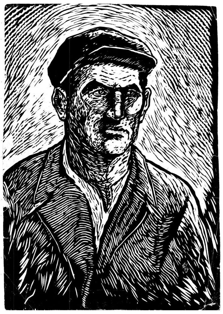 Grigore Ursu, Self-portrait, 1963, linocut, 52x37 cm