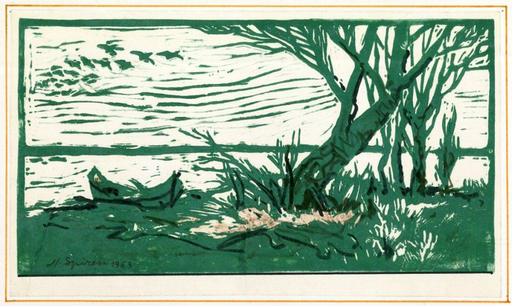 Nicolae Spirescu, Danube Delta, linocut, 1963, 35x21 cm