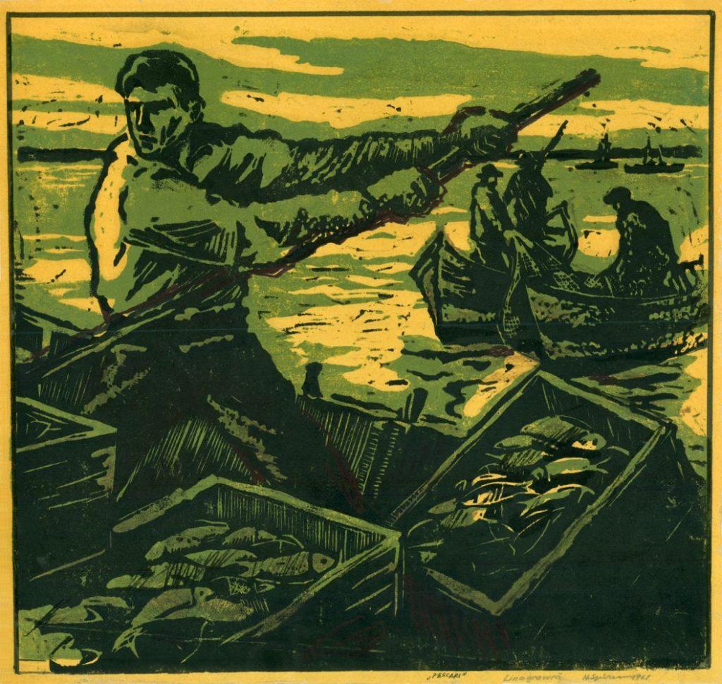 Nicolae Spirescu, Fishermen, Linocut, 1961, 41x39 cm