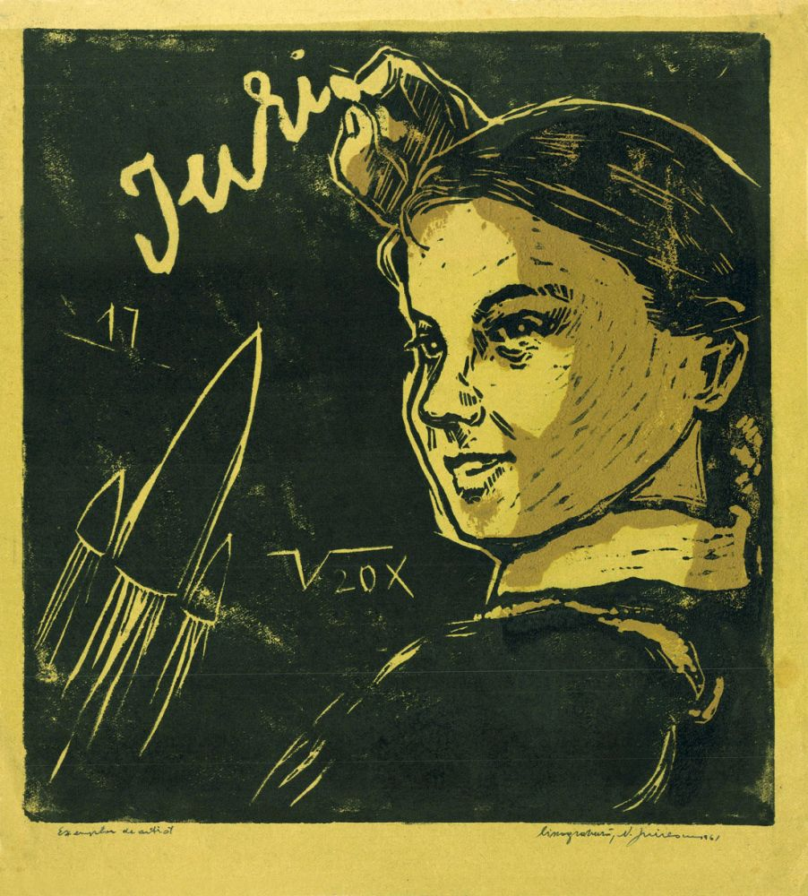 Nicolae Spirescu, The First Flight of Gagarin, 1961, linocut, 34.5x31.5 cm