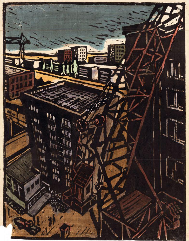 Nicolae Spirescu, Tiglina, 1960, linocut coloured interventions, 51.5x41 cm