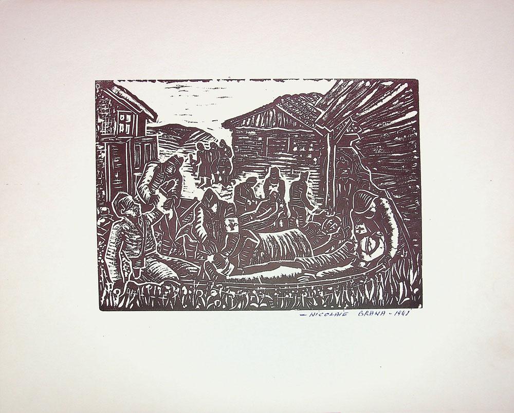 Nicolae Brana, Post de prim ajutor, 1941, 32x40 cm