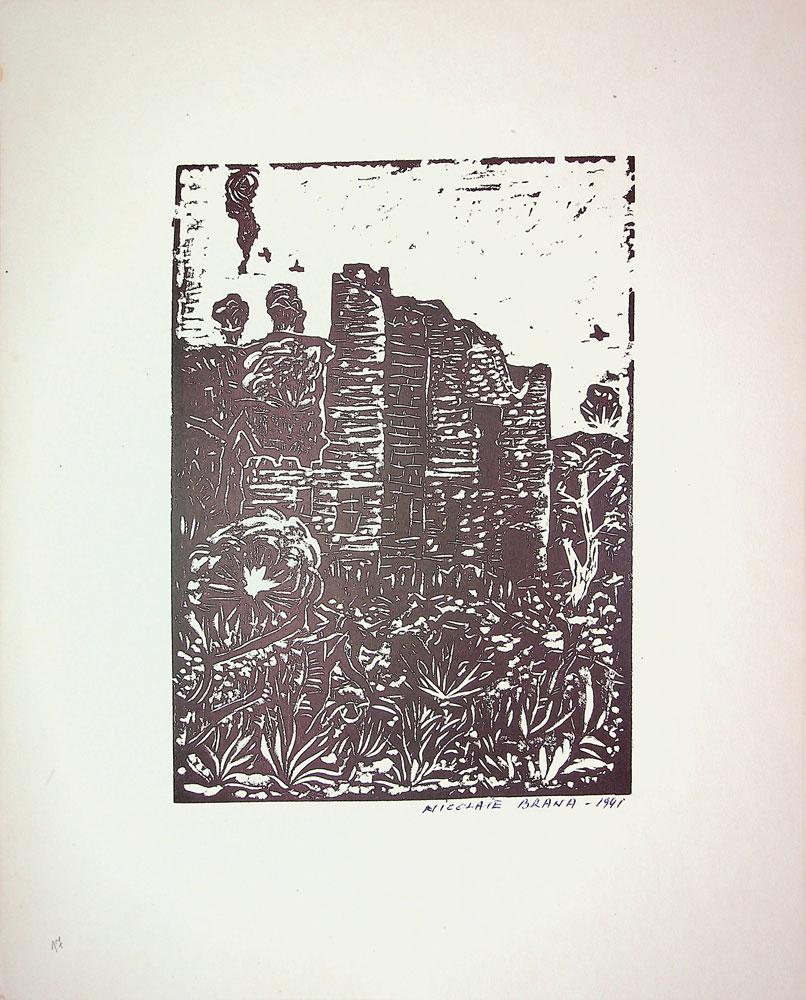 Nicolae Brana, Ruinele Sorocii, 1941, 32x40 cm