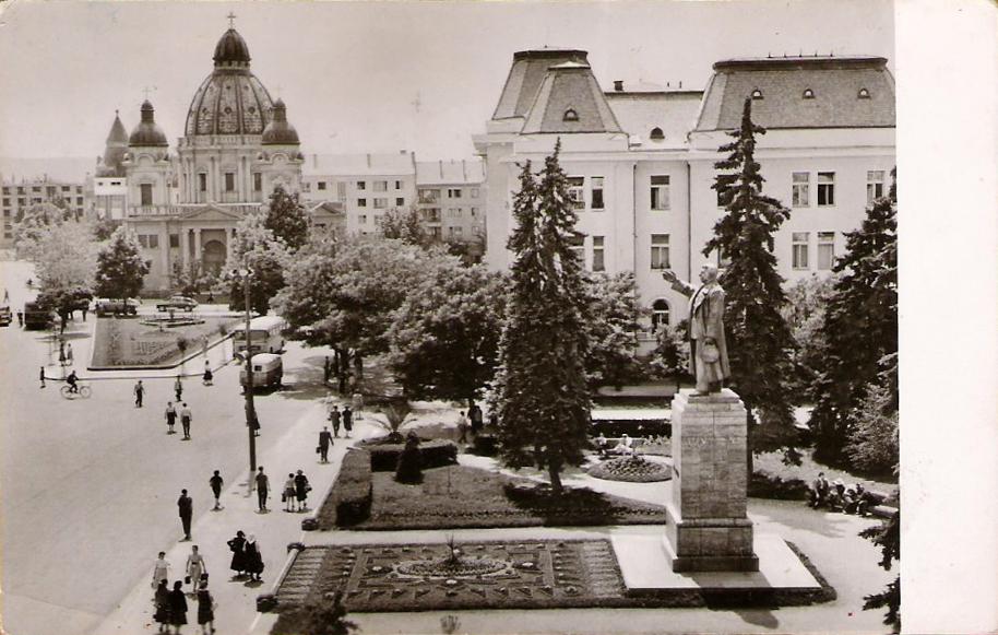 Stalin Statue in Targu Mures, postal card