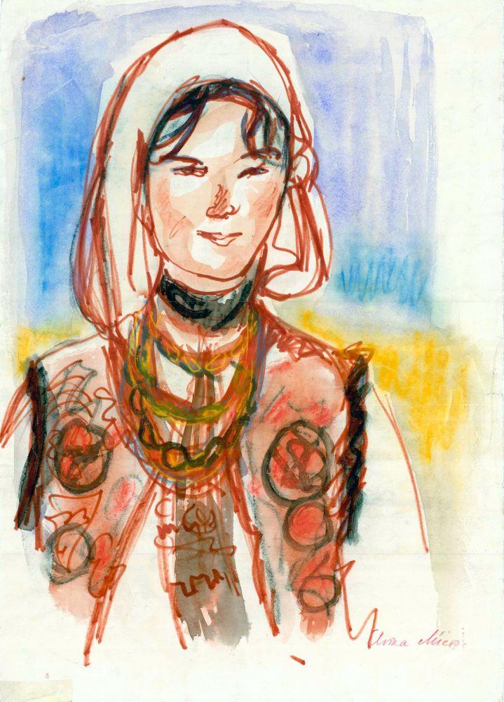 Elvira Micoș, Marmureșancă, creioane color si acuarela, carton subtire, 45x32 cm