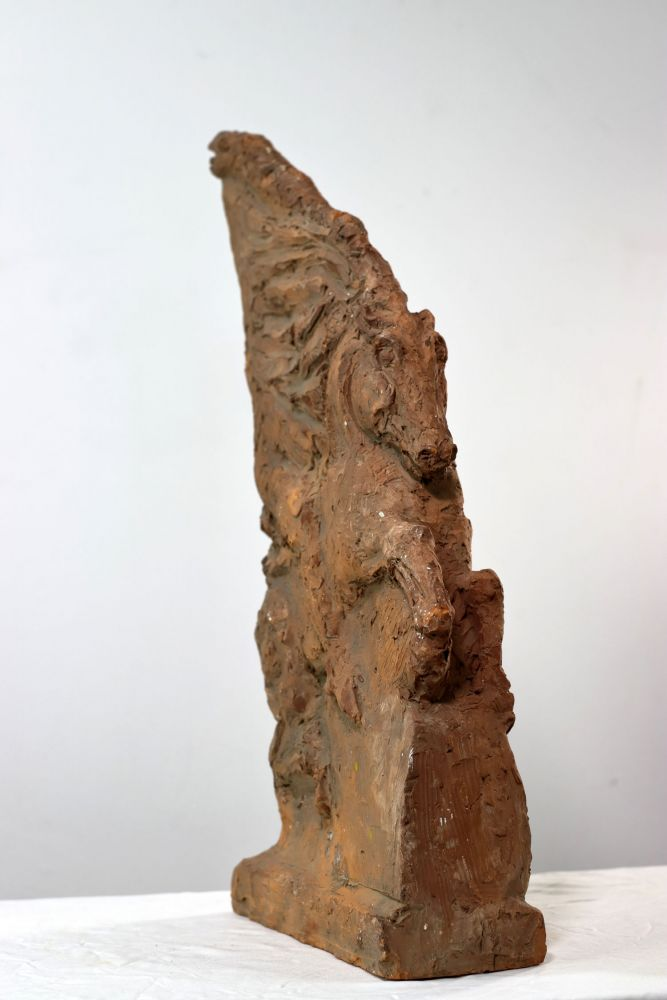 Constantin Iordache, Arcasul dac - statuie ecvestra, 1974, ceramica, 48x24x9 cm