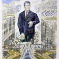 Ileana Balota, Omagiu Tovarasului Nicolae Ceausescu, 1986, guasa si creion pe carton, 36x36 cm