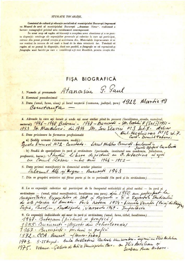 Paul Atanasiu fisa biografica 1, arhiva Alexandru Cebuc
