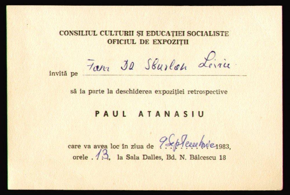 1983 Expozitia de pictura Paul Atanasiu - Invitatie oficiala la Sala Dalles, arta1983 Expozitia de pictura Paul Atanasiu - Invitatie oficiala la Sala Dalles, arta