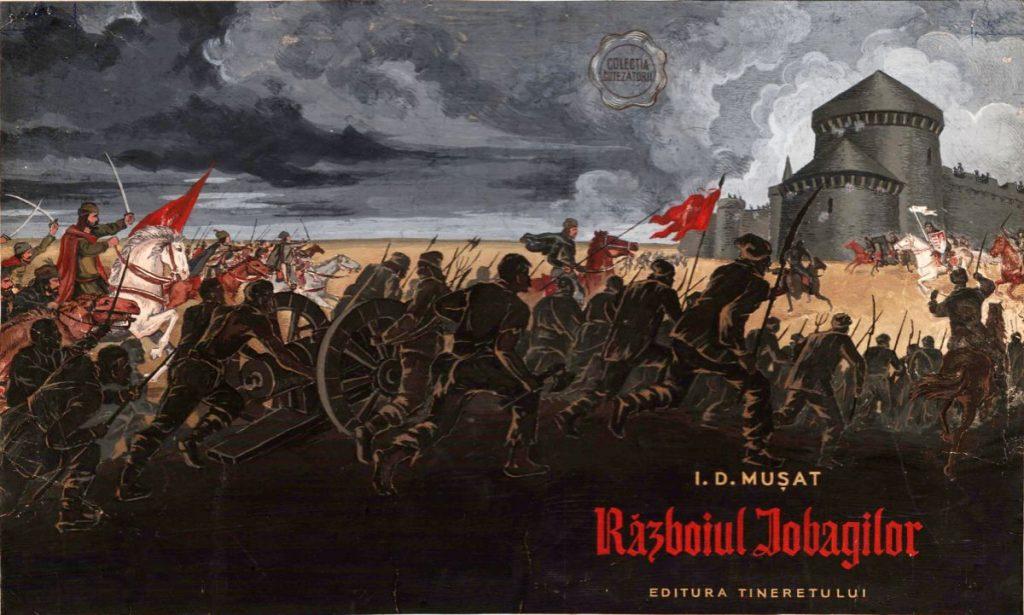 Vasile Pop Silaghi, Razboiul iobagilor de I. D. Musat, 1956, tempera on board, 35X21cm