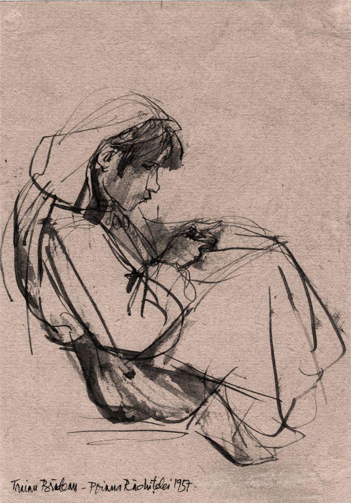 Traian Bradean, Poiana Rachitelei,1957, tus pe hartie, 21x14 cm