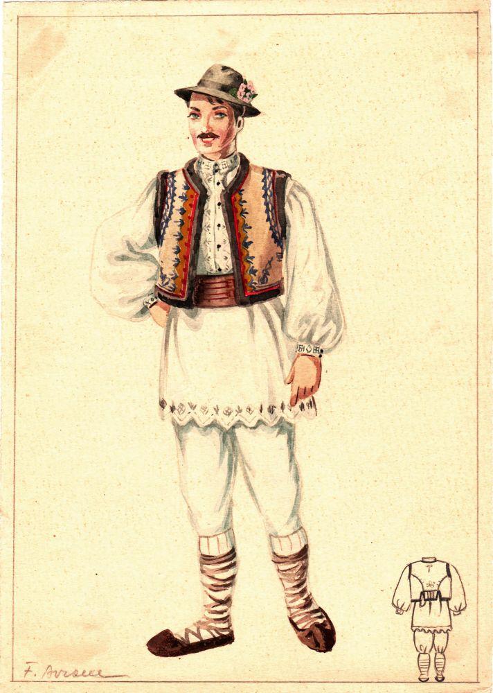Felicia Avram, Costum popular de bărbat, guasa pe hartie, 25x18 cm