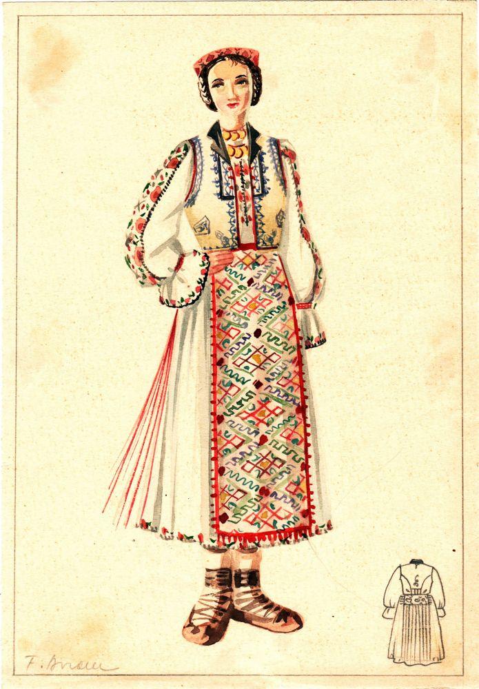 Felicia Avram, Costum popular de femeie, guasa pe hartie, 25x18 cm