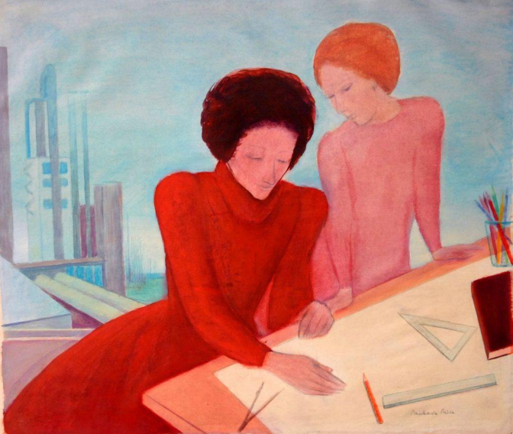 Michaela Nica Craciun, Proiectante, 1976, guasa si creion pe hartie, 47,2x56cm
