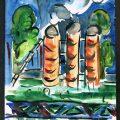Titina Calugaru Peisaj industrial, guasa pe hartie, 26x20 cm