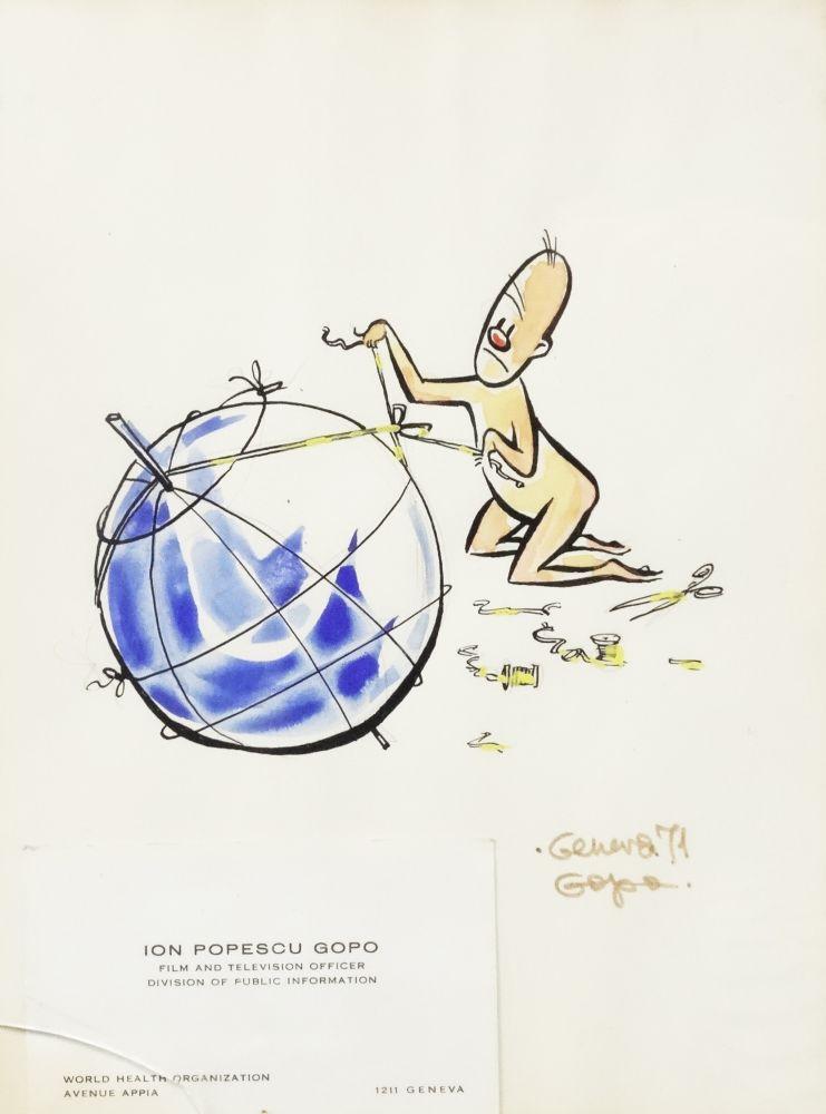 Ion Popescu Gopo, Omuletul, tus si acuarela, 24x18cm, semnat dreapta jos cu ocru, datat Geneva (19)71, proiect pentru posterul Conferintei OMS Geneva 1971