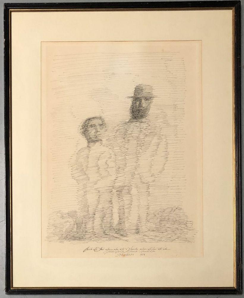Saul Steinberg, Deux personnages. Litho. Signé et daté 1969. 37 x 27,5 cm