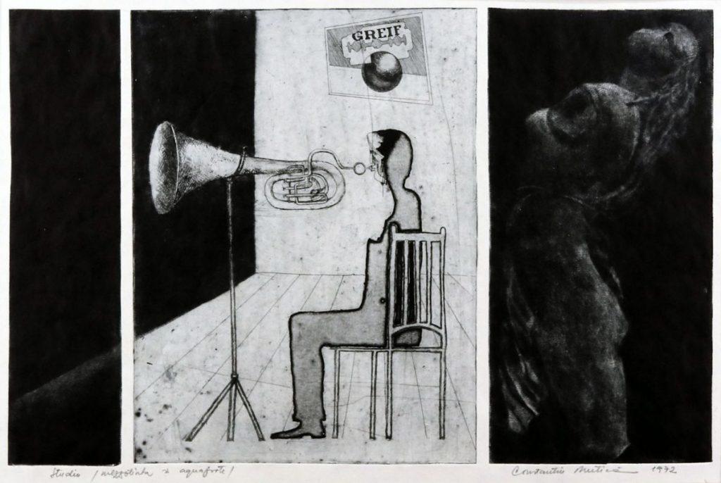 Constantin Mutica, Studiu,1972, mezzotinata și aqvaforte, 53x42 cm