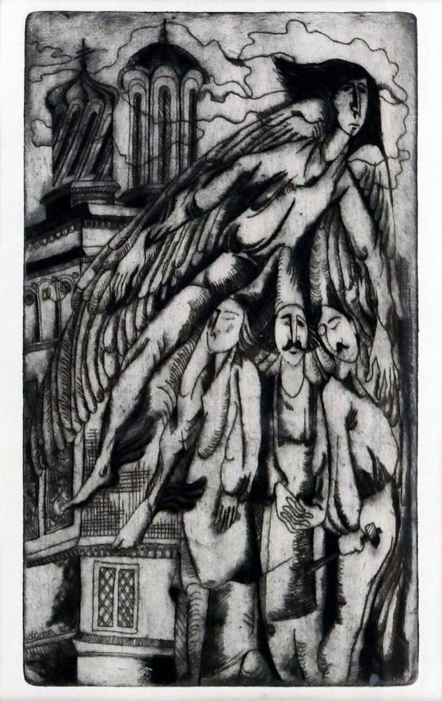 Dana Schobel Roman, Legenda Meșterului Manole, 1972, gravură cu ac, 25x15 cm