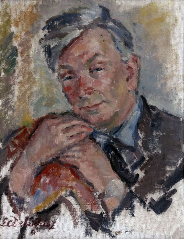 EcaterinaCristescu-Delighioz, Portretul lui Marcel Olinescu, ulei pe panza, 52x40 cm