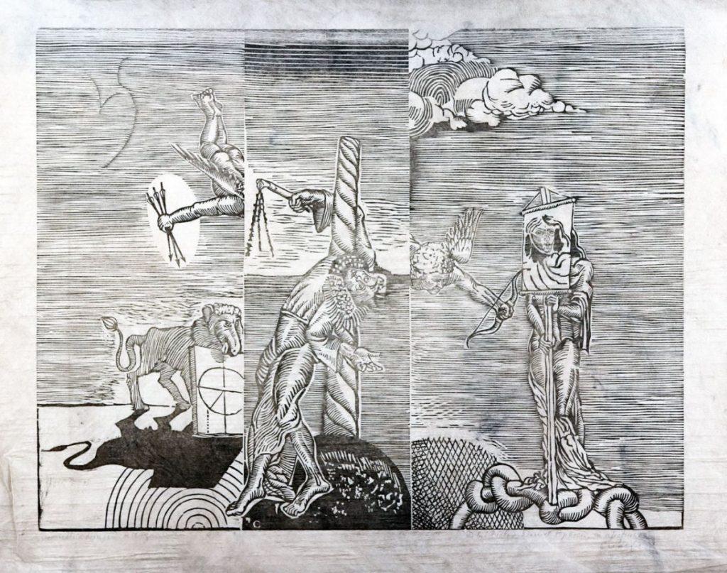 Florin Creangă, Geometria lionis, xilogravură, 50x64 cm