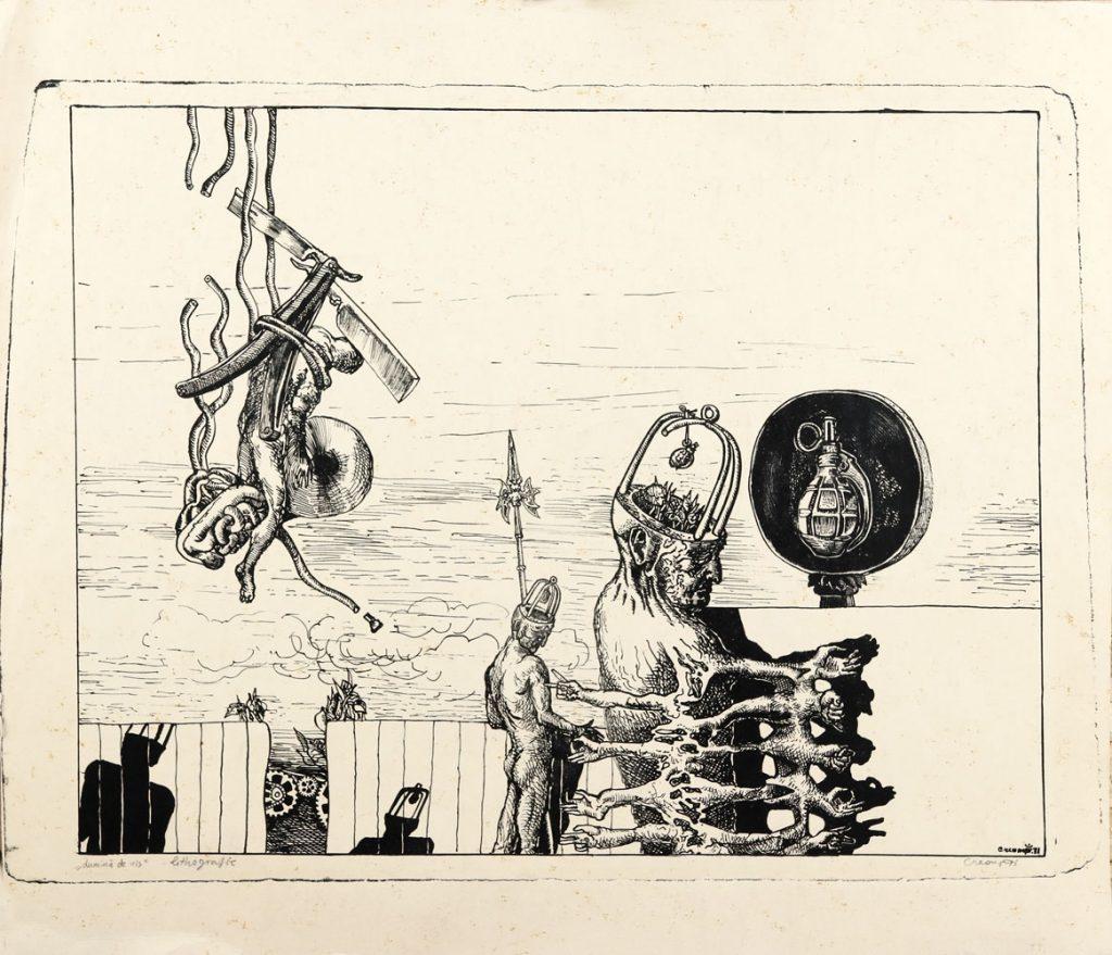 Florin Creangă, Lumina de vis, litografie, 1971, 43x50 cm