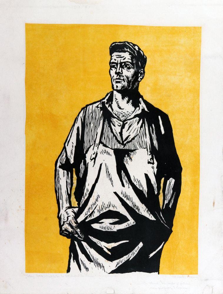 Mircea Bălău, Petruș Vasile, treflator la TOT Industria Sârmei, 1961, linogravură, 53x39 cm