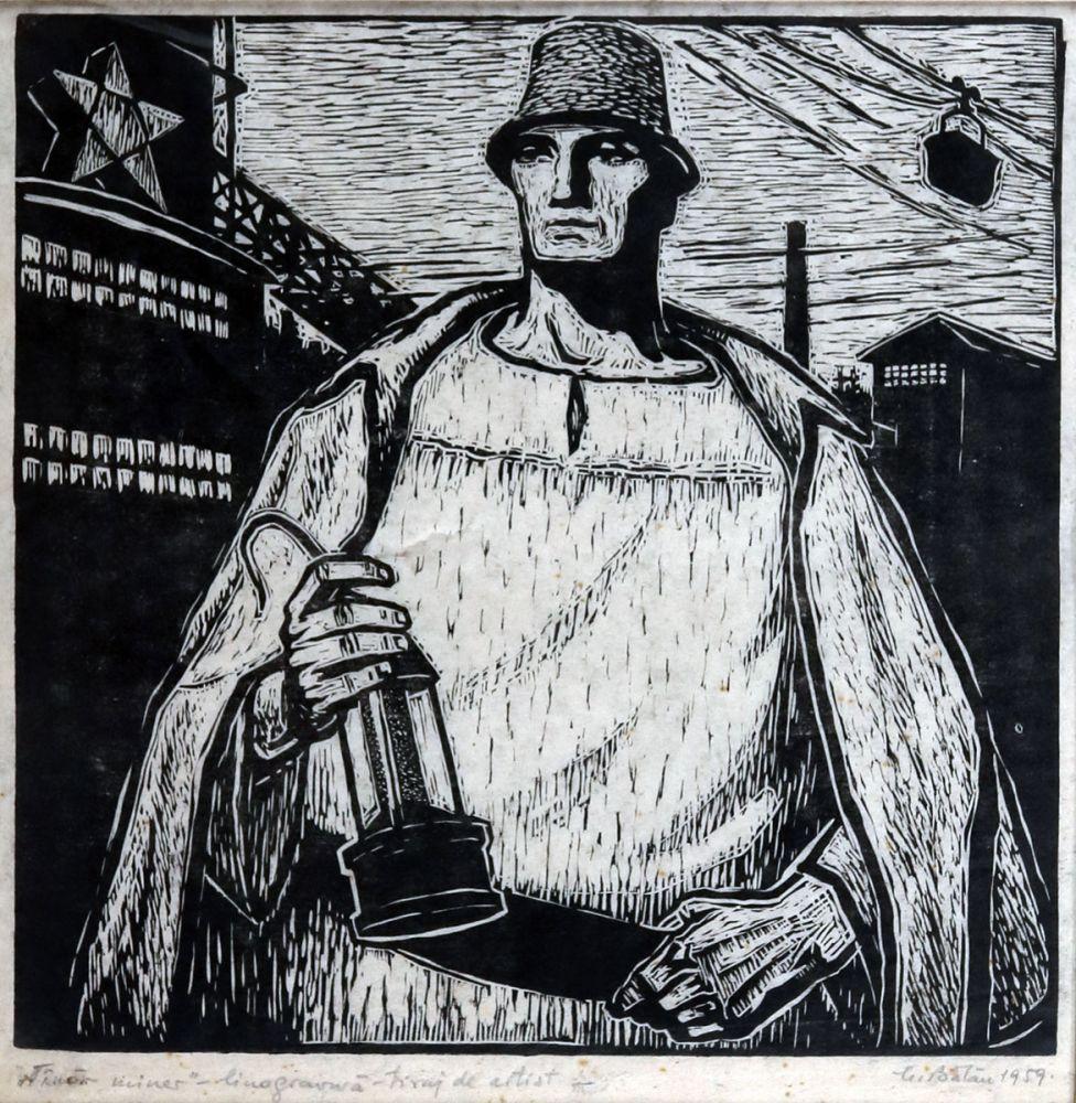 Mircea Bălău, Tânăr miner, 1959, linogravură, tiraj de artist, 32x32 cm
