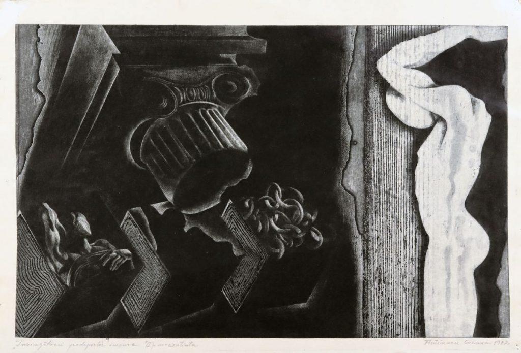 Suzana Fântânariu, Invigatorii pedepselor impuse I, 1972, mezzotinta, 49x33 cm