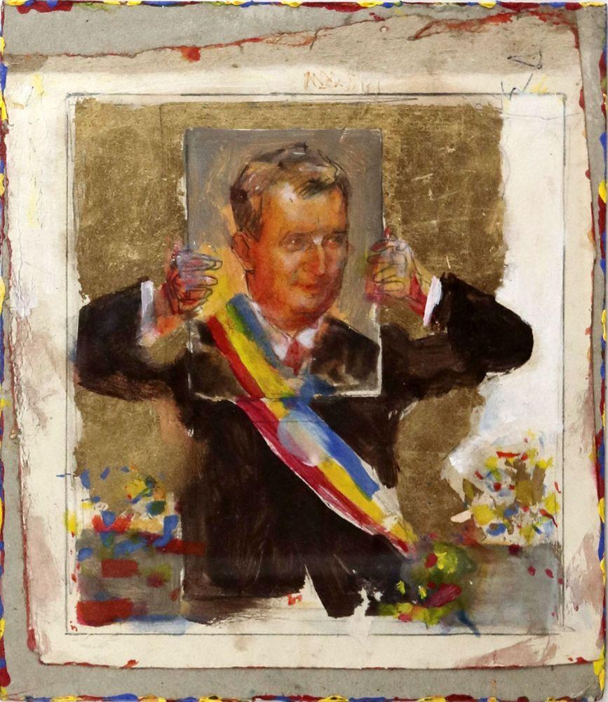 Vasile Pop Negreșteanu, Ceausescu pozand, 1988 tempera, acrylic, schlagmetal auriu, 53x43 cm