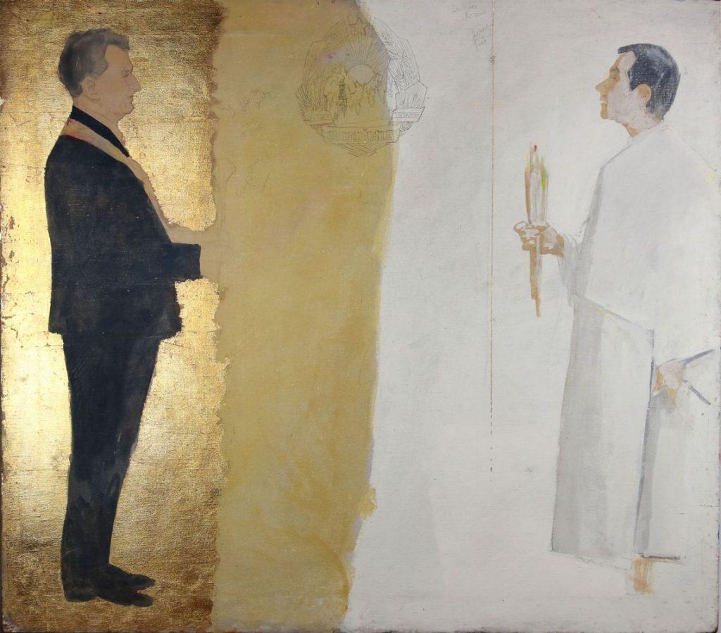 Vasile Pop Negreșteanu, Ritual in Epoca de Aur, 1988, tempera, emulsie de ou, creion, aur 24K pe panza, 91x100 cm