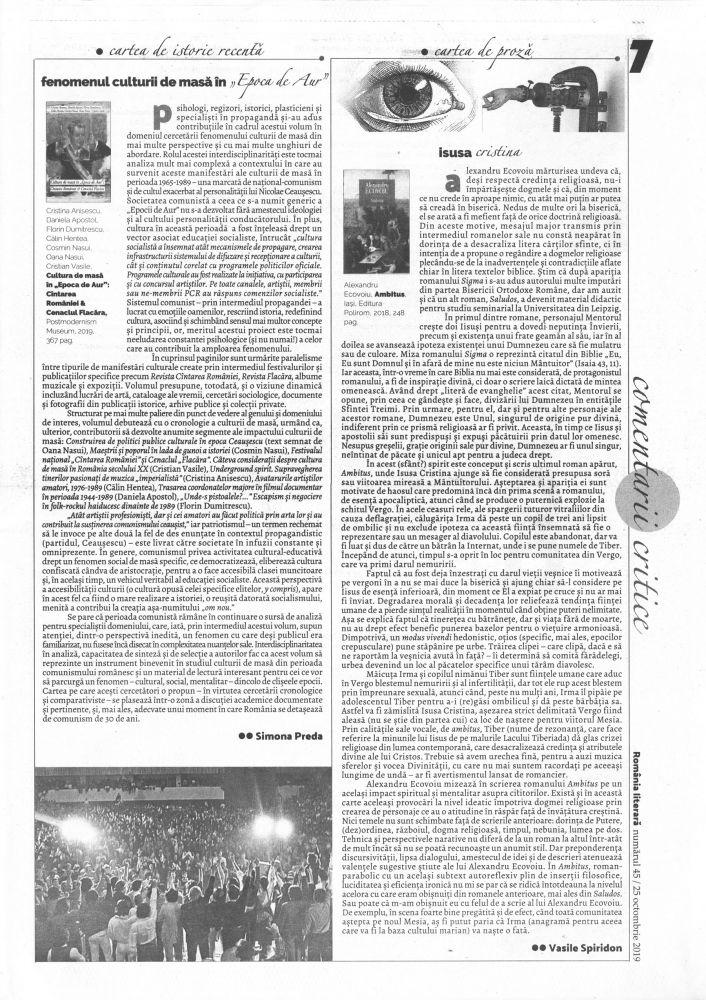 Romania Literara nr 45, 25 octombrie 2019, pg 7