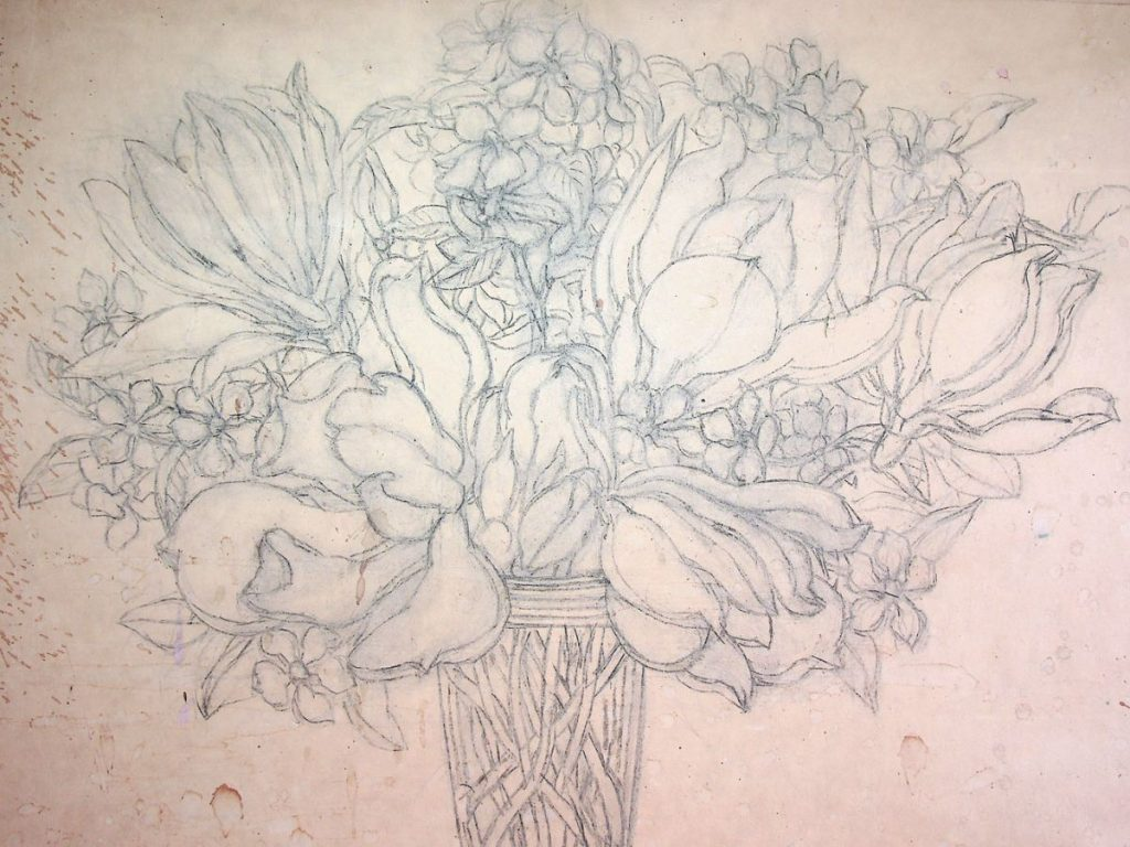 Vasile Celmare, Flori, desen pe hartie caserata pe lemn, 41x53 cm
